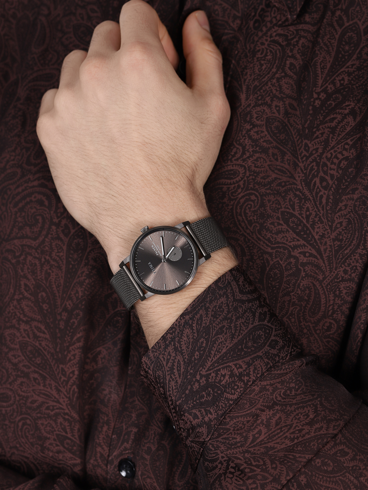 Triwa FAST125-ME023412 Falken BRONZE FALKEN GUN MESH zegarek męski klasyczny mineralne