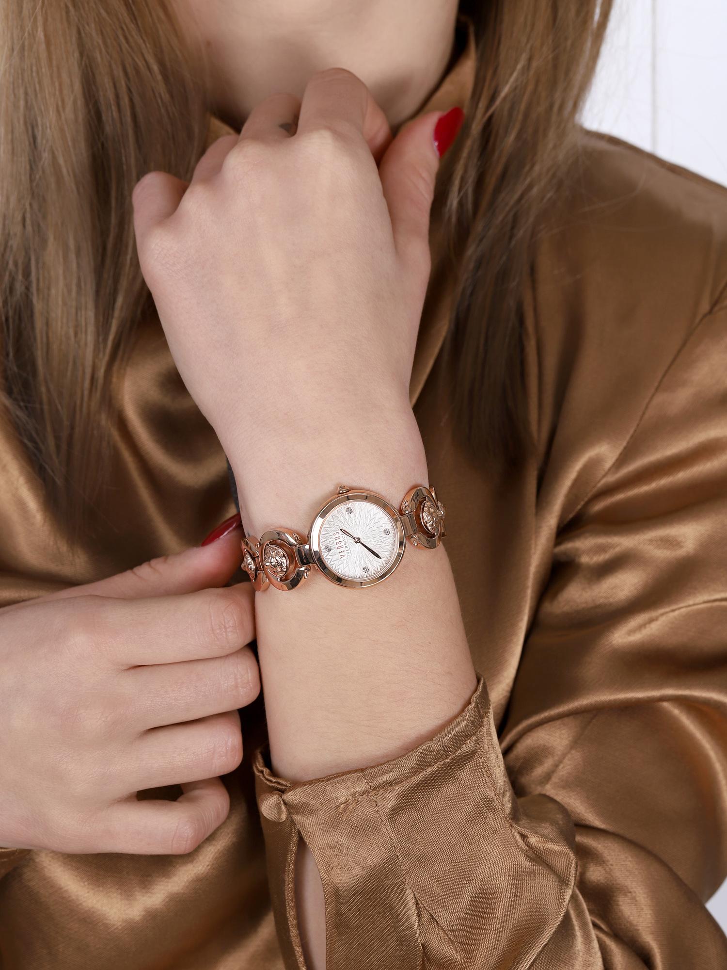 Versus Versace VSPHL0420 zegarek różowe złoto klasyczny Damskie bransoleta
