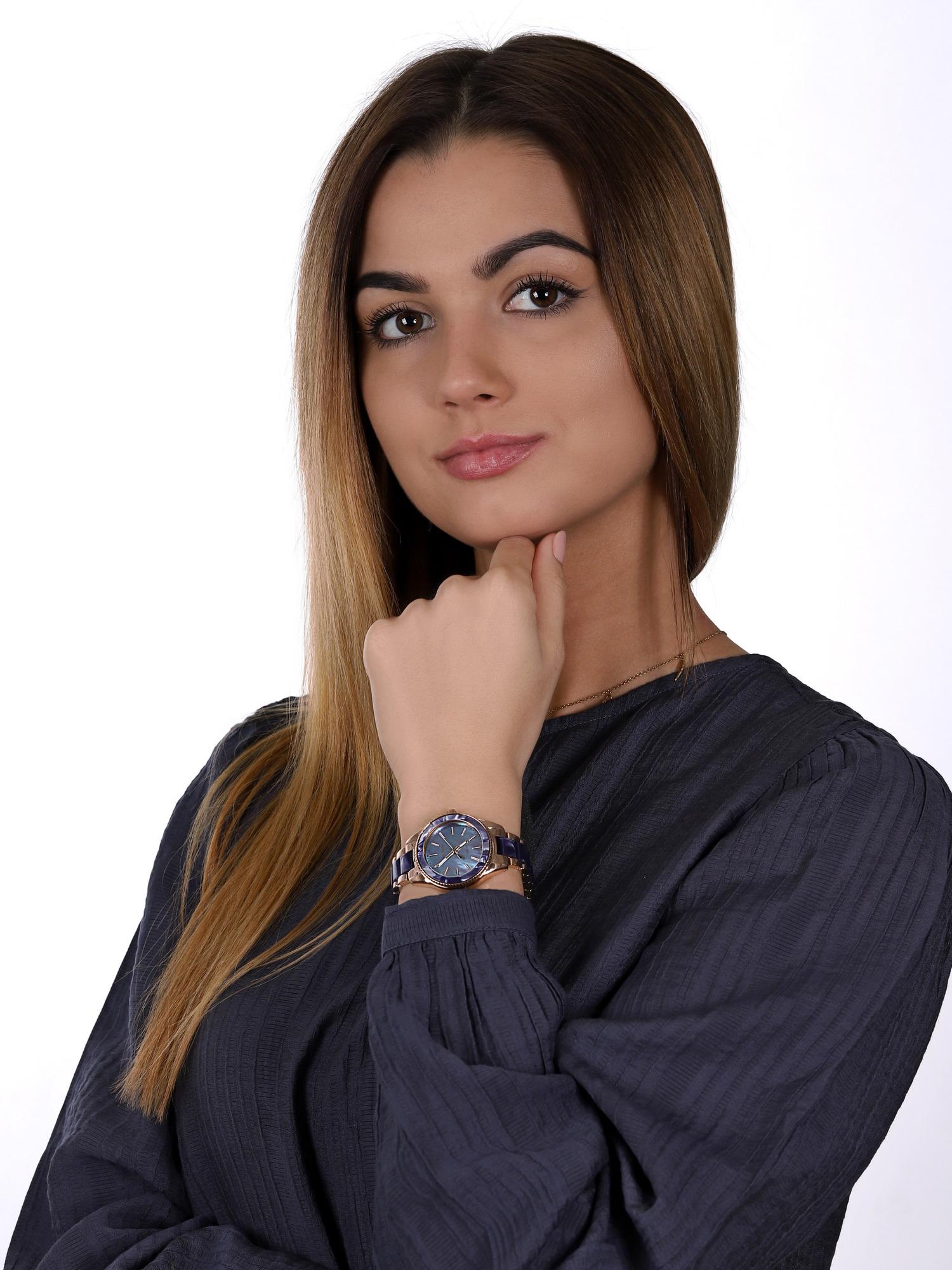 zegarek Anne Klein AK-3770NVRG solar damski Bransoleta