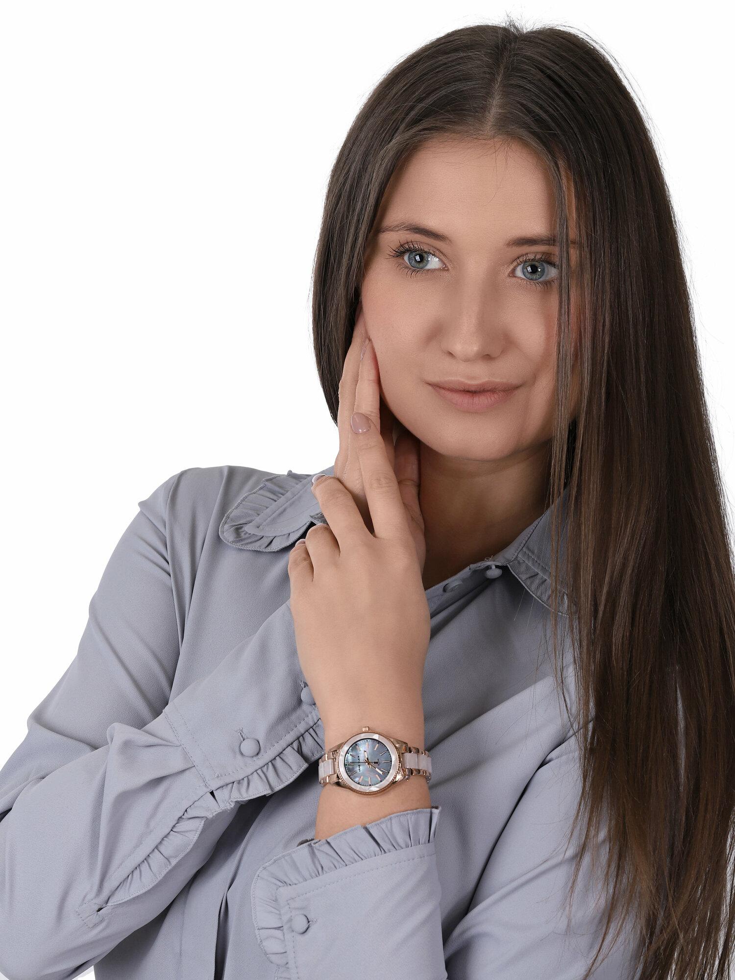 zegarek Anne Klein AK-3770WTRG solar damski Bransoleta