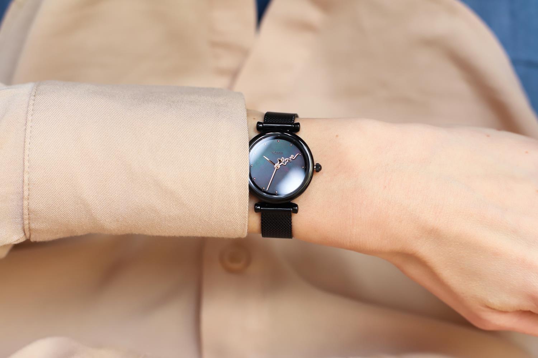 Fossil ES4829 zegarek czarny klasyczny Carlie bransoleta