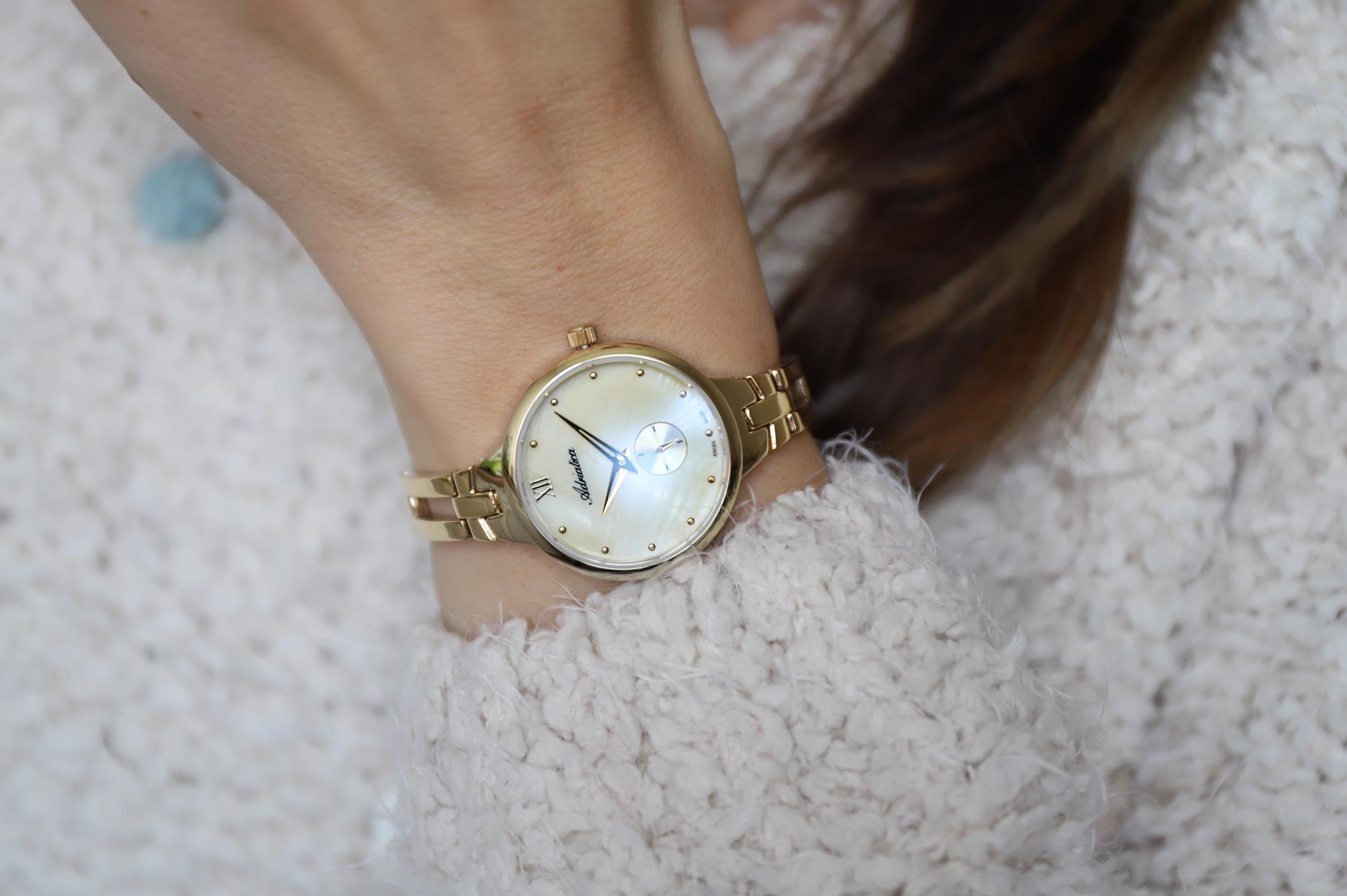 Adriatica A3728.118SQ zegarek złoty klasyczny Bransoleta bransoleta
