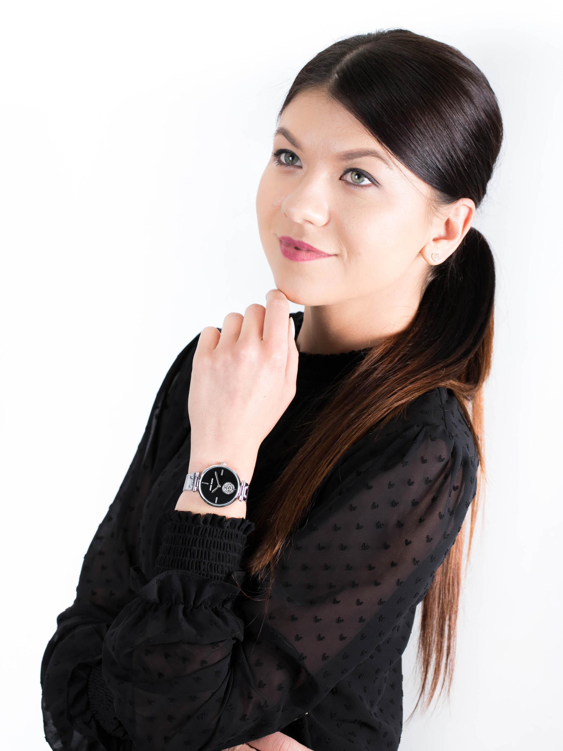 Anne Klein AK-3001BKSV zegarek damski Bransoleta