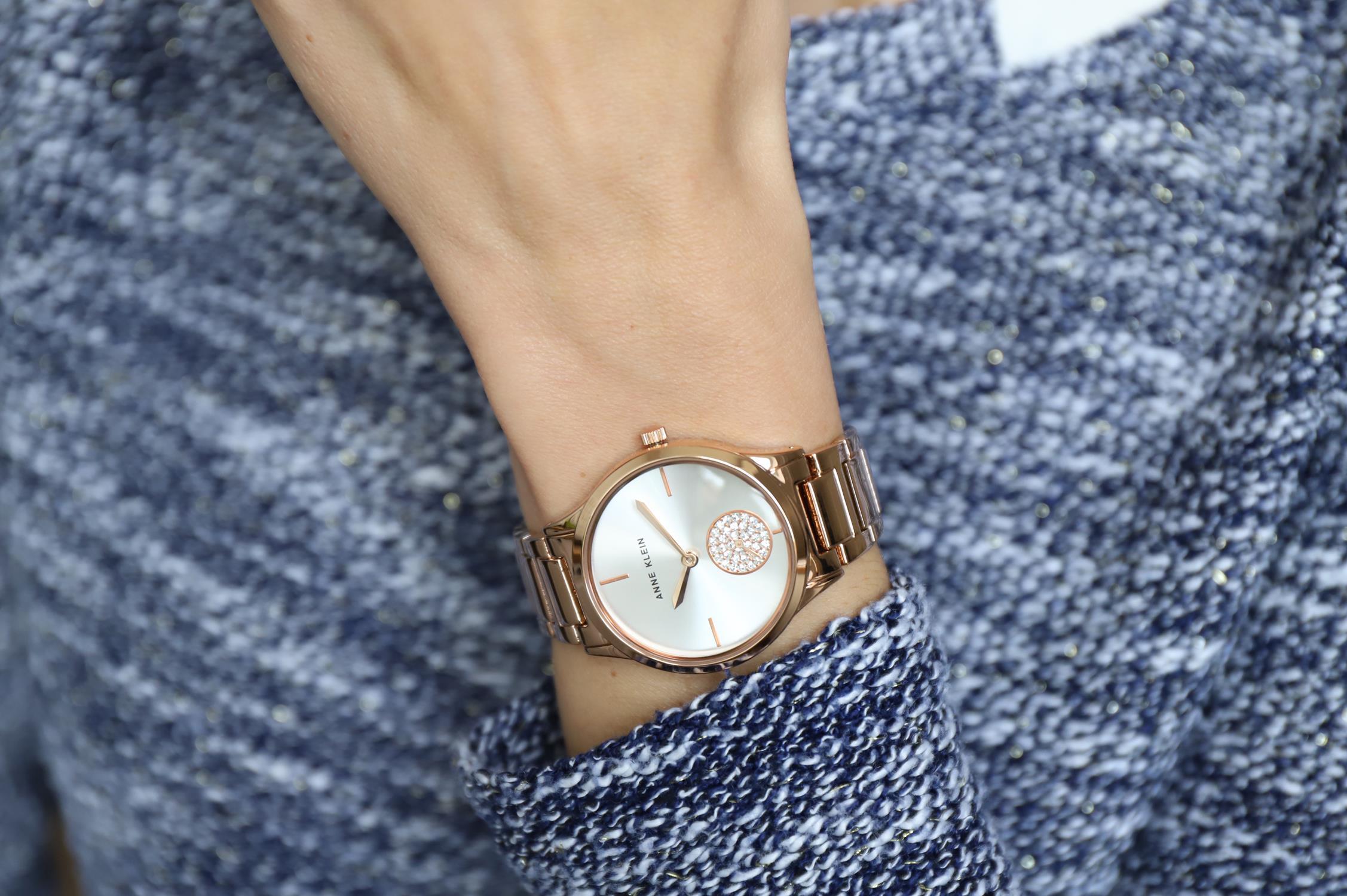 Anne Klein AK-3416SVRG zegarek różowe złoto klasyczny Bransoleta bransoleta
