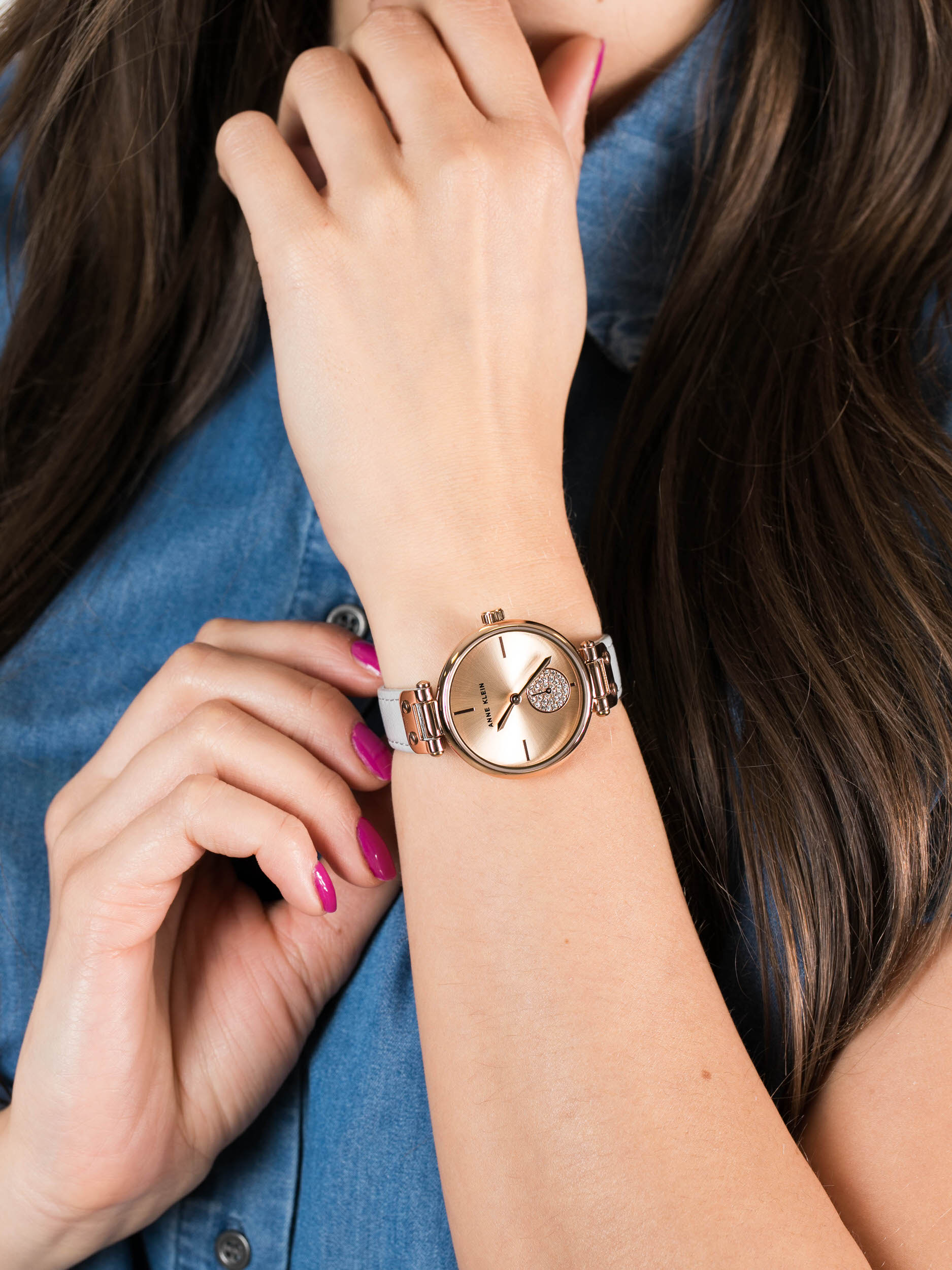 Anne Klein AK-3380RGLG damski zegarek Pasek pasek