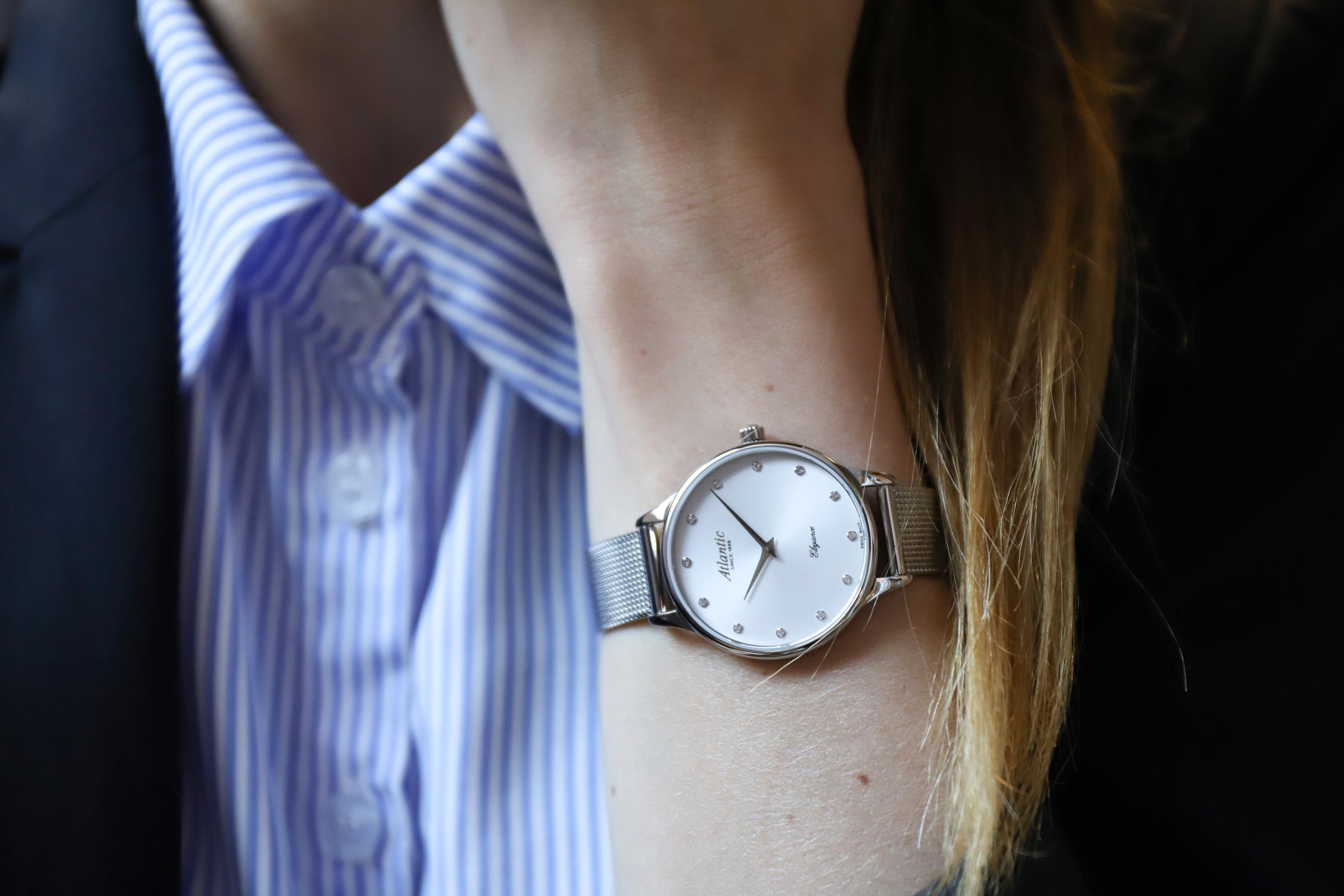Atlantic 29038.41.27MB zegarek srebrny klasyczny Elegance bransoleta