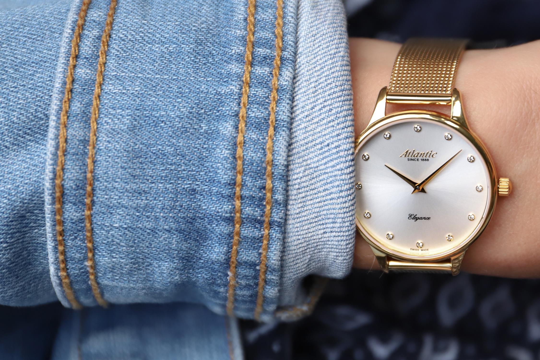 Atlantic 29038.45.27MB zegarek złoty klasyczny Elegance bransoleta
