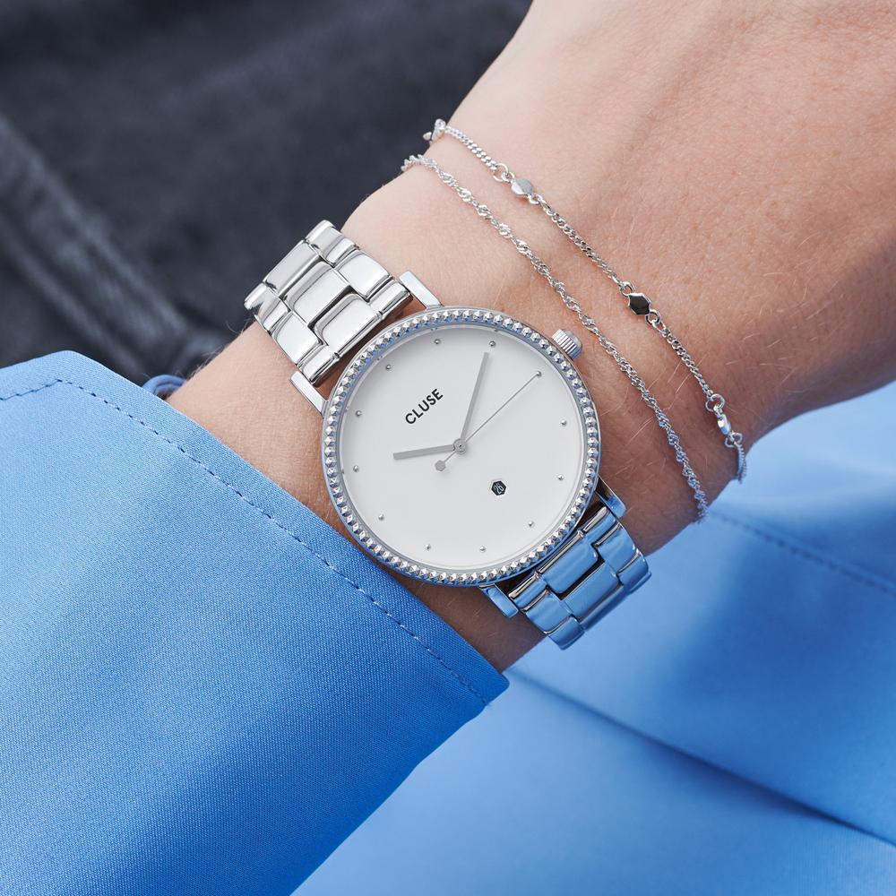 Cluse CW0101209008 Le Couronnement 3-Link Silver Winter white/Silver zegarek fashion/modowy Le Couronnement