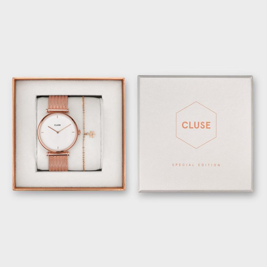 zegarek Cluse CG0108208001 kwarcowy damski Triomphe Rose Gold/ White  Star Bracelet Gift Box