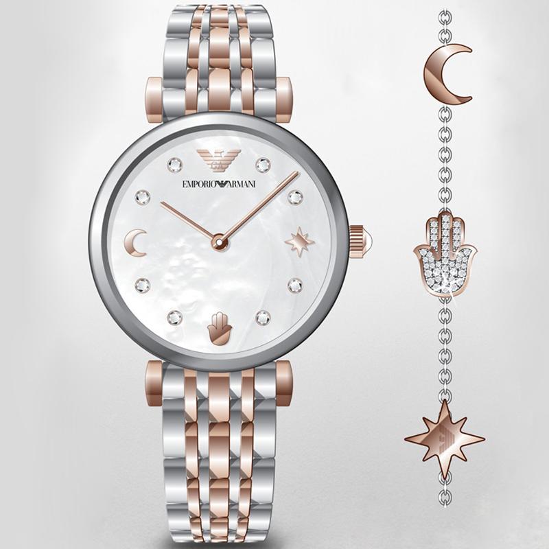 Emporio Armani AR80037 zegarek srebrny klasyczny Ladies bransoleta