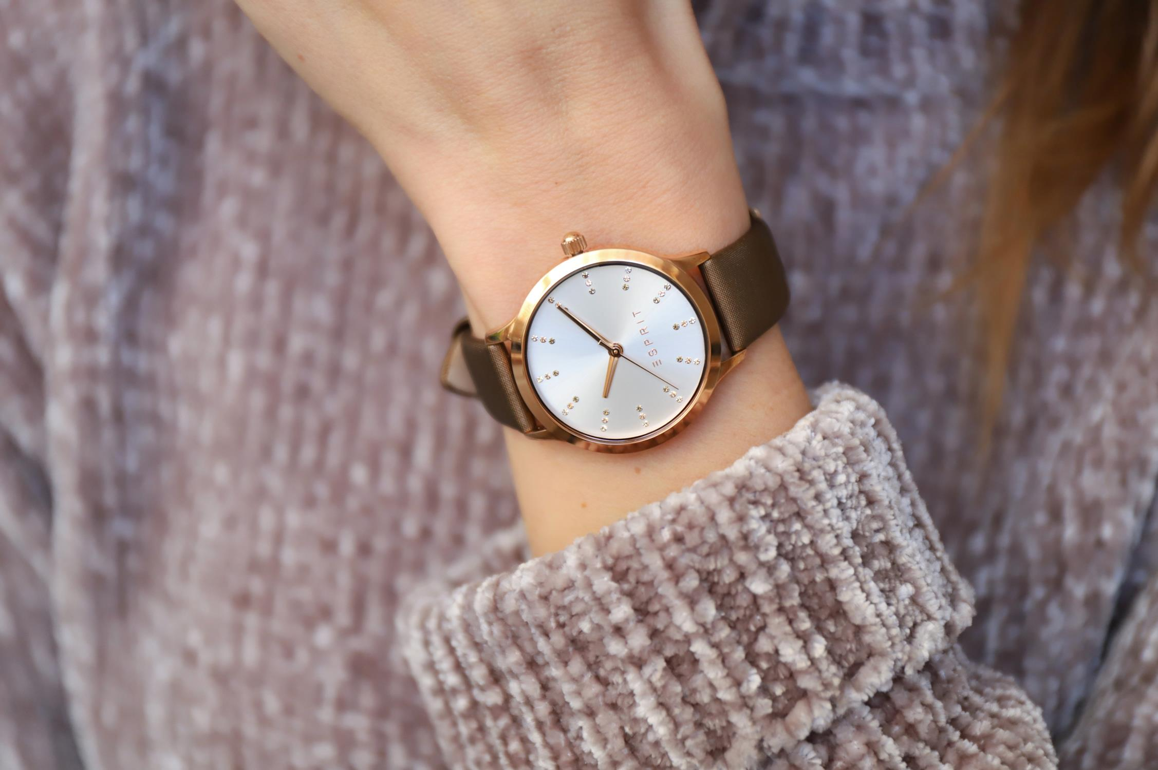 Esprit ES109292004 zegarek różowe złoto klasyczny Damskie pasek