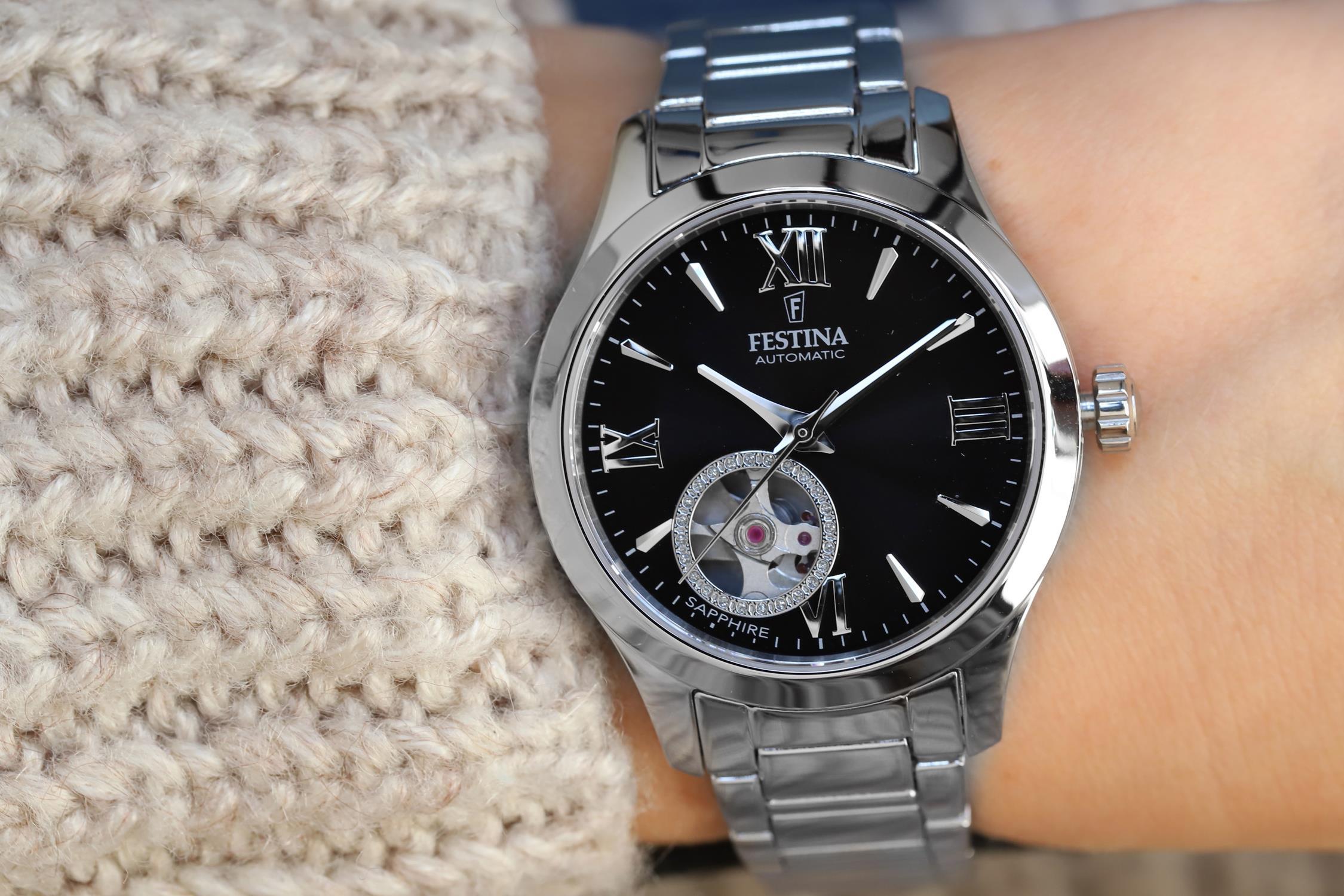 zegarek Festina F20488-2 automatyczny damski Classic Open Heart Automatic