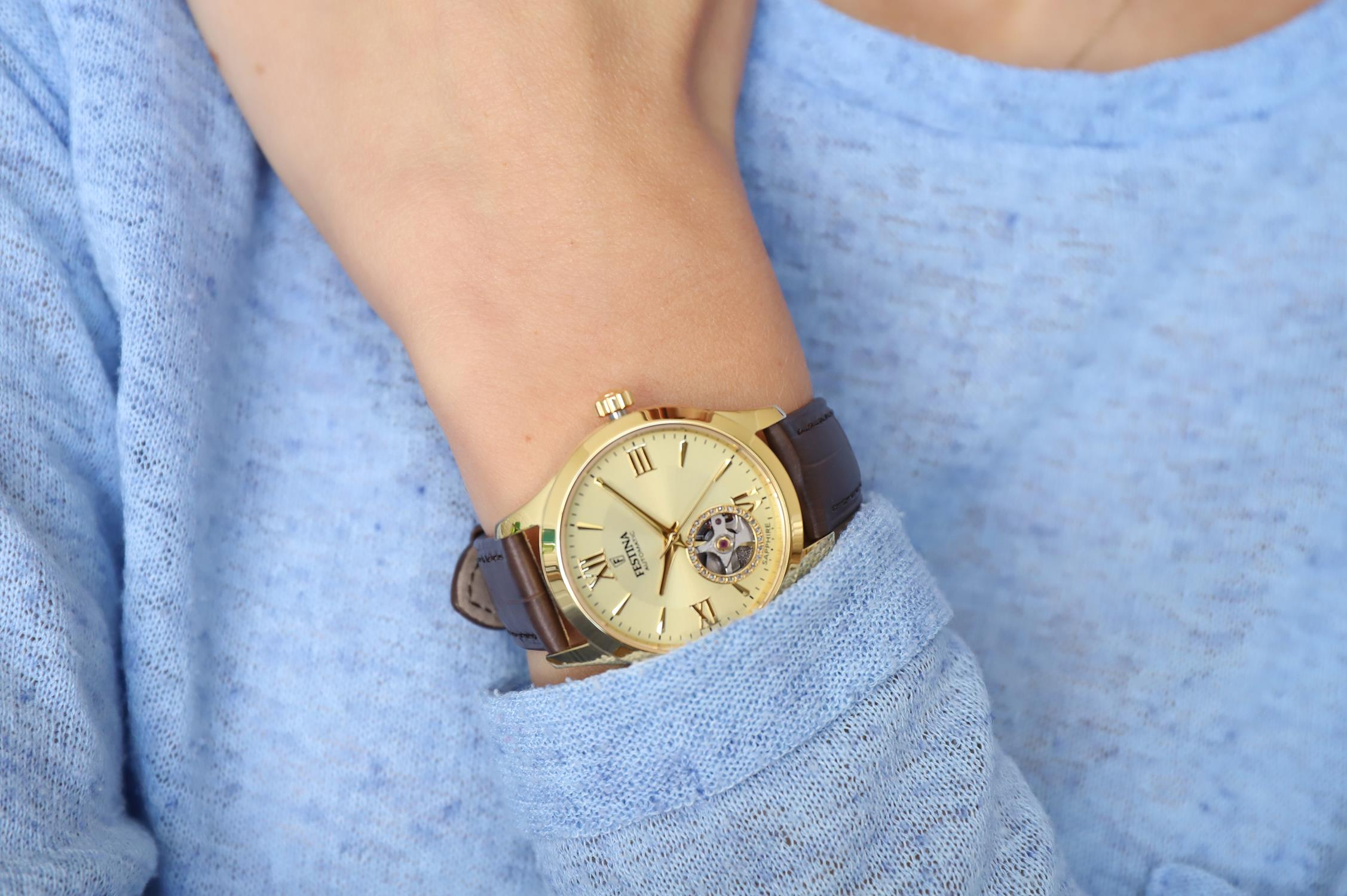 Festina F20491-1 zegarek złoty klasyczny Classic pasek