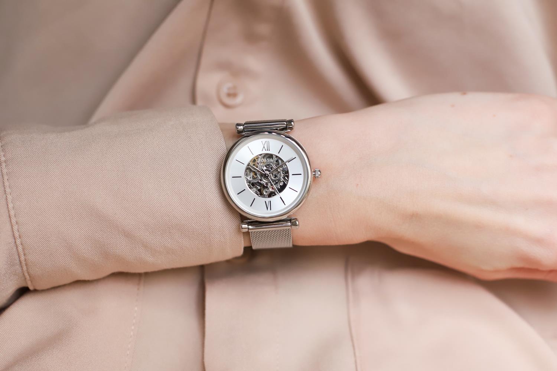 Fossil ME3176 zegarek srebrny klasyczny Carlie bransoleta