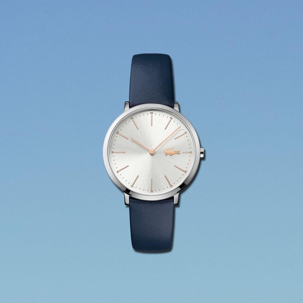 Lacoste 2000986 zegarek srebrny klasyczny Damskie pasek