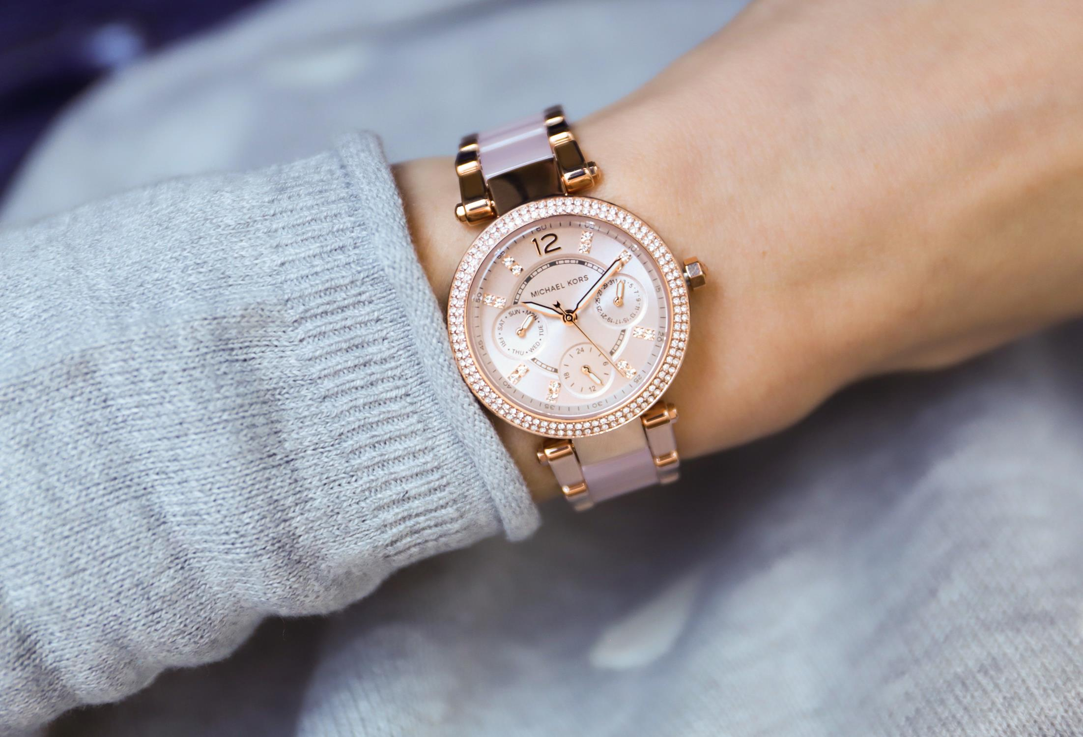 Michael Kors MK6110 zegarek różowe złoto fashion/modowy Parker bransoleta