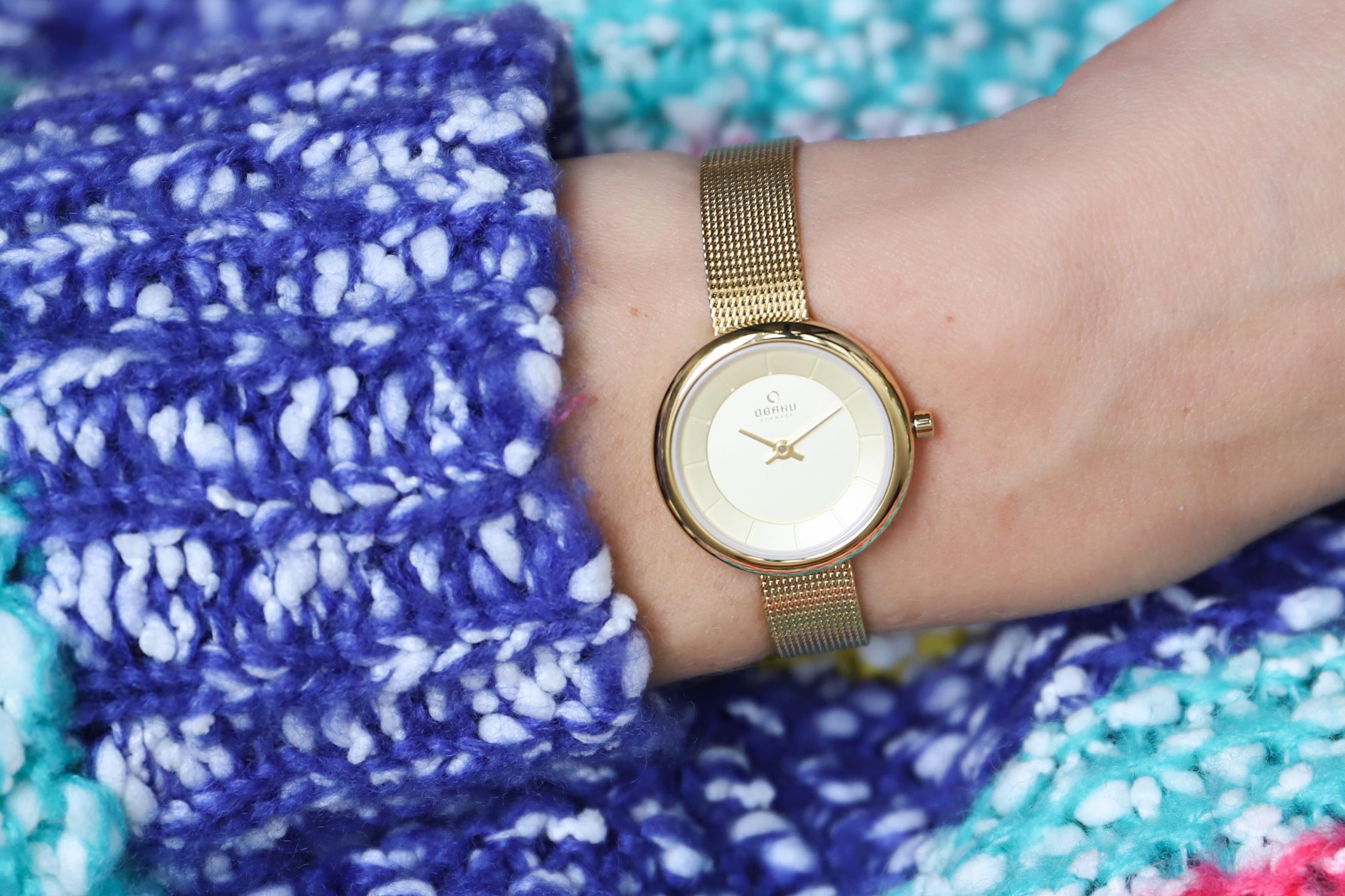 Obaku Denmark V146LGGMG zegarek złoty fashion/modowy Slim bransoleta