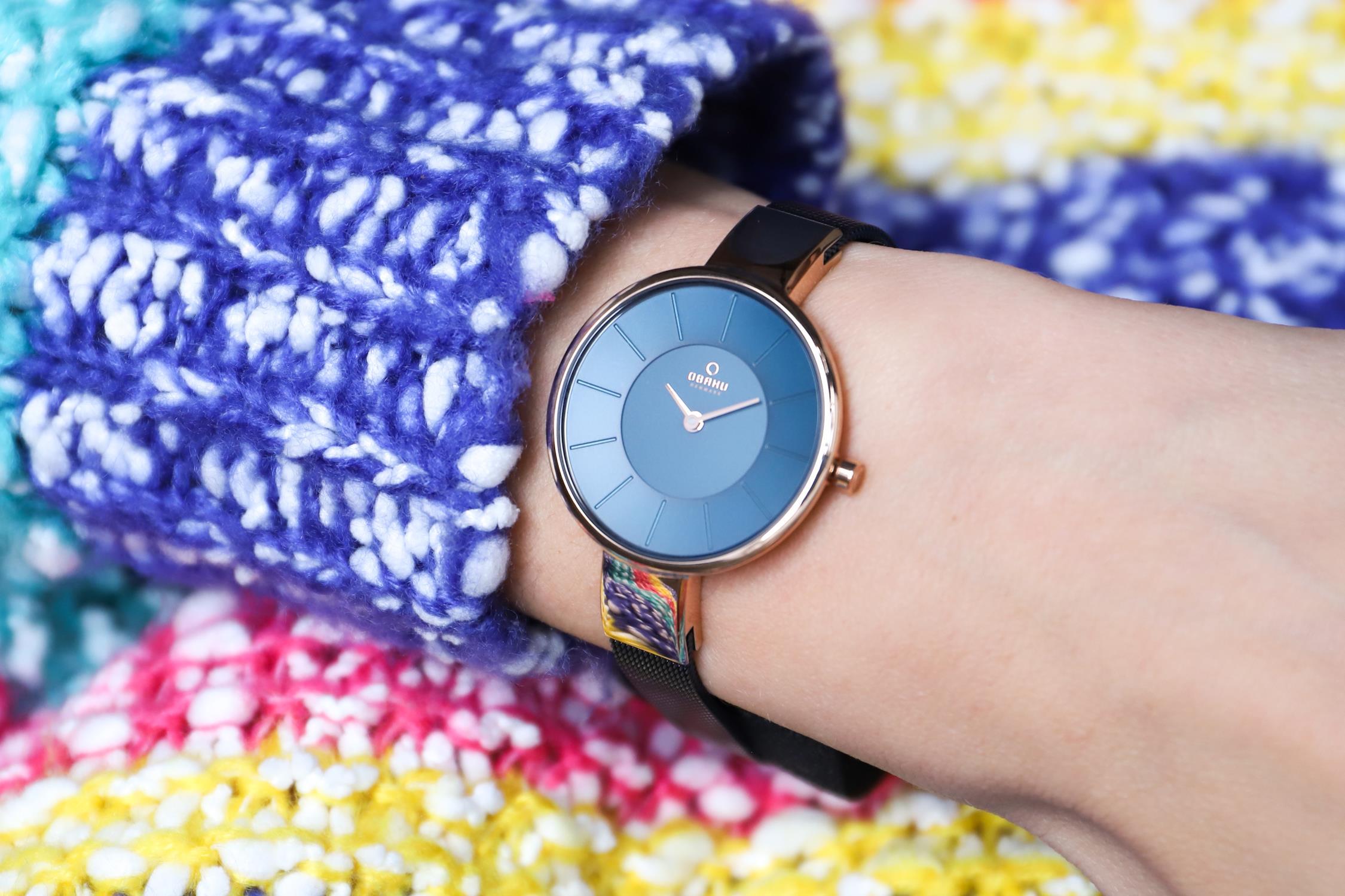 Obaku Denmark V149LVLML zegarek różowe złoto fashion/modowy Slim bransoleta