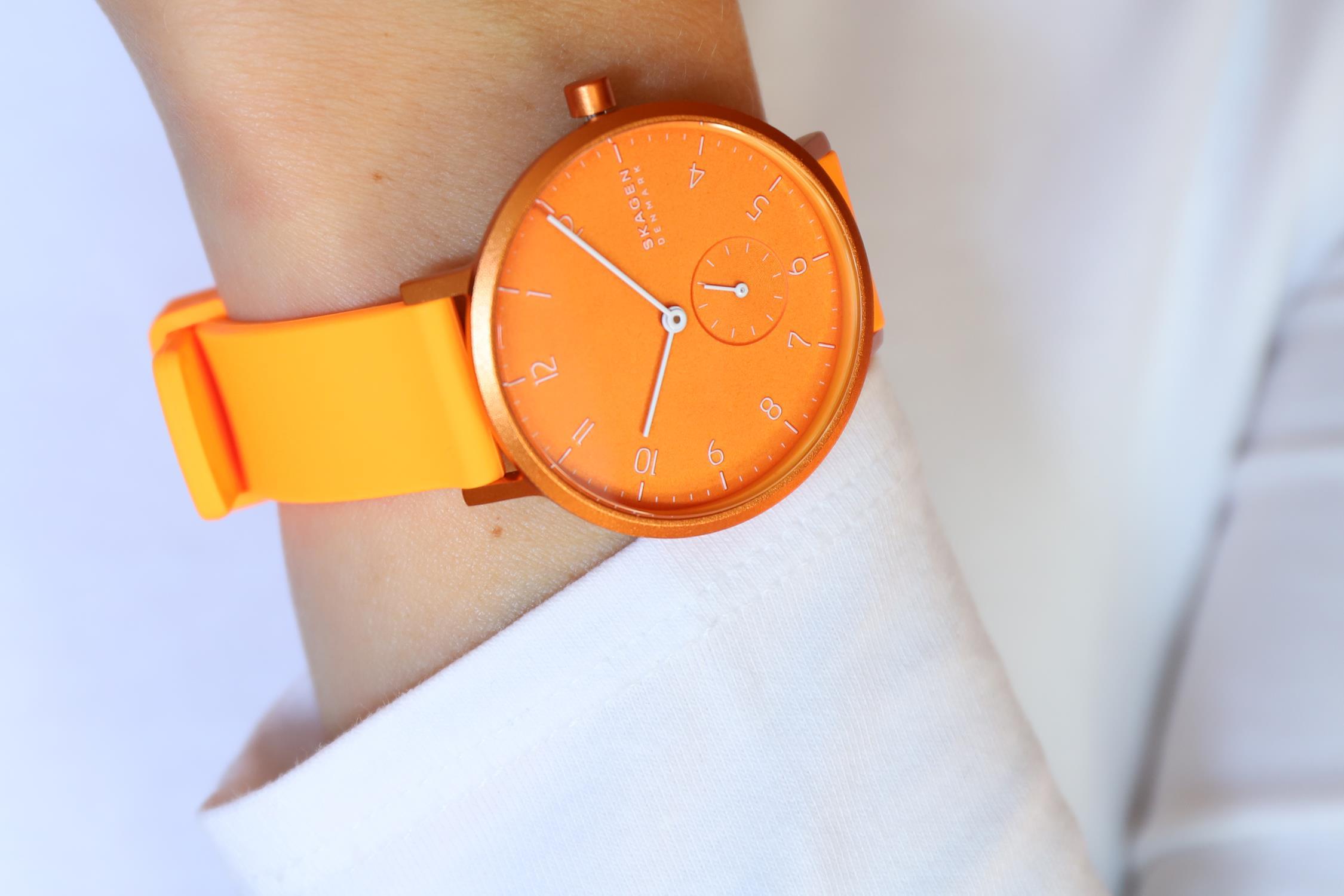 Skagen SKW2821 zegarek pomarańczowy klasyczny Aaren pasek