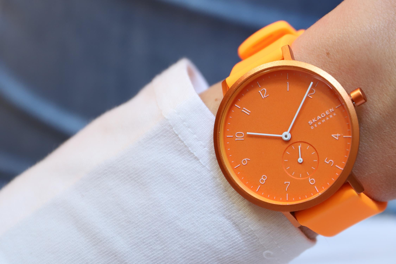 zegarek Skagen SKW2821 kwarcowy damski Aaren Aaren Kulor Neon Orange Silicone