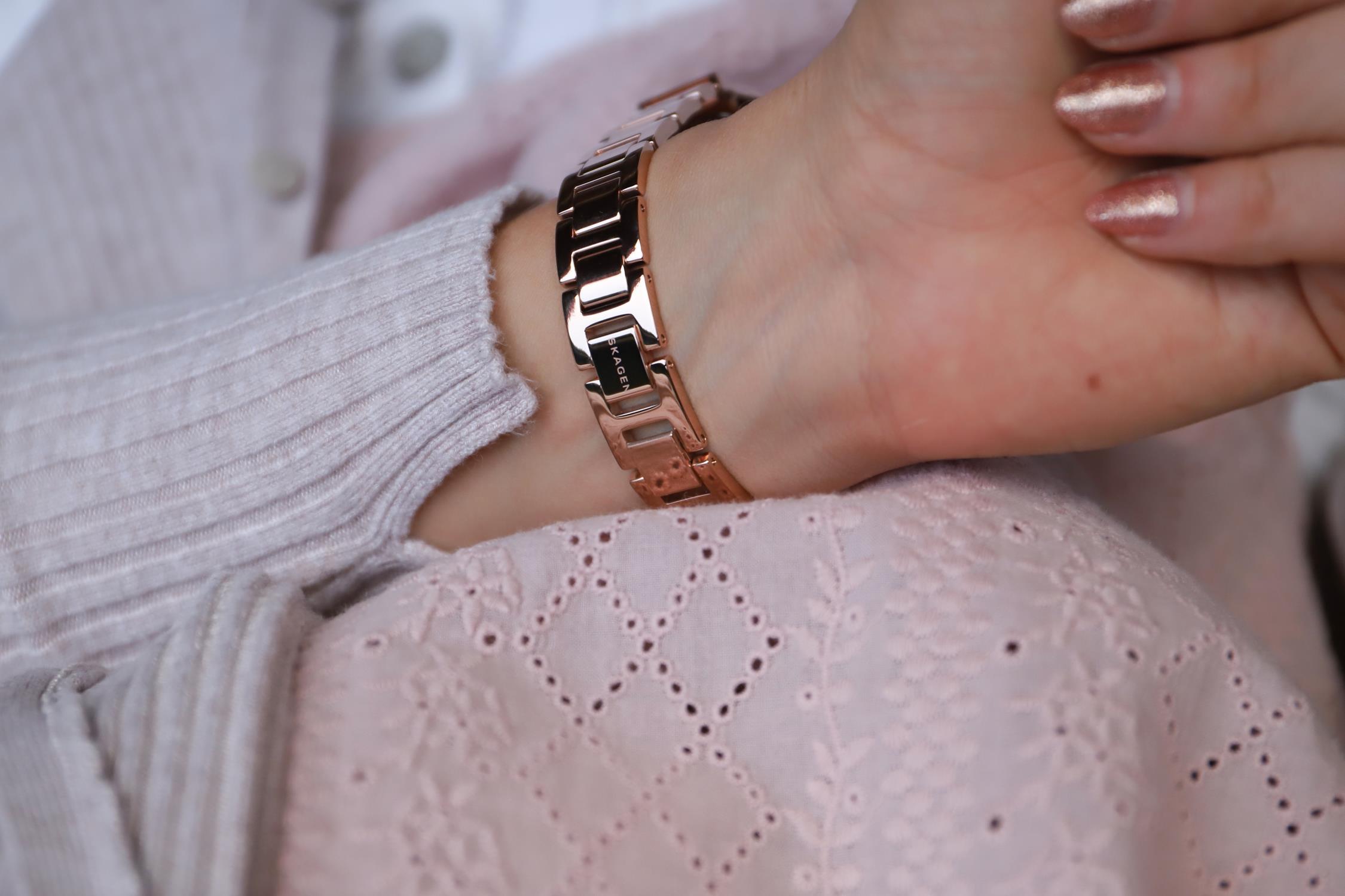 Skagen SKW2791 zegarek różowe złoto klasyczny Freja bransoleta