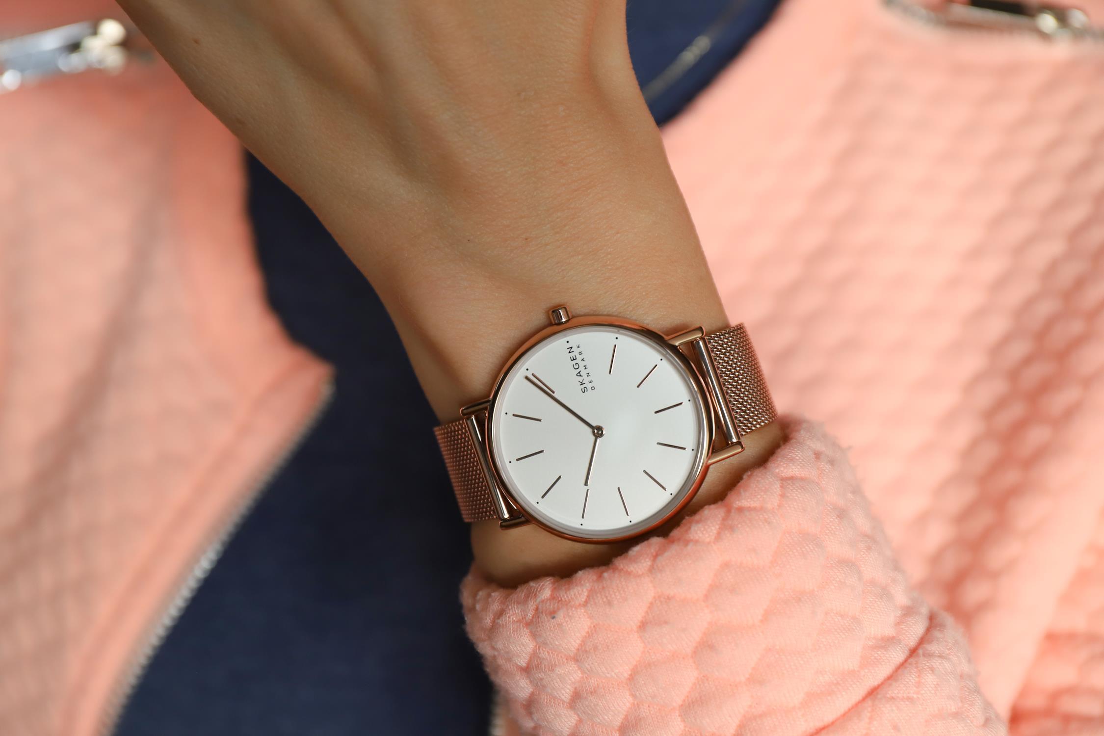 Skagen SKW2784 zegarek różowe złoto klasyczny Signatur bransoleta