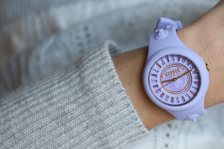 Versus Versace VSPOQ4319 zegarek fioletowy fashion/modowy Damskie pasek