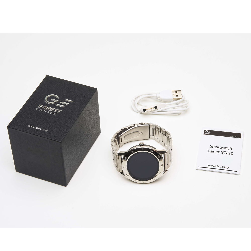 Garett 5903246287295 Smartwatch Garett GT22S RT srebrny stalowy zegarek sportowy Męskie