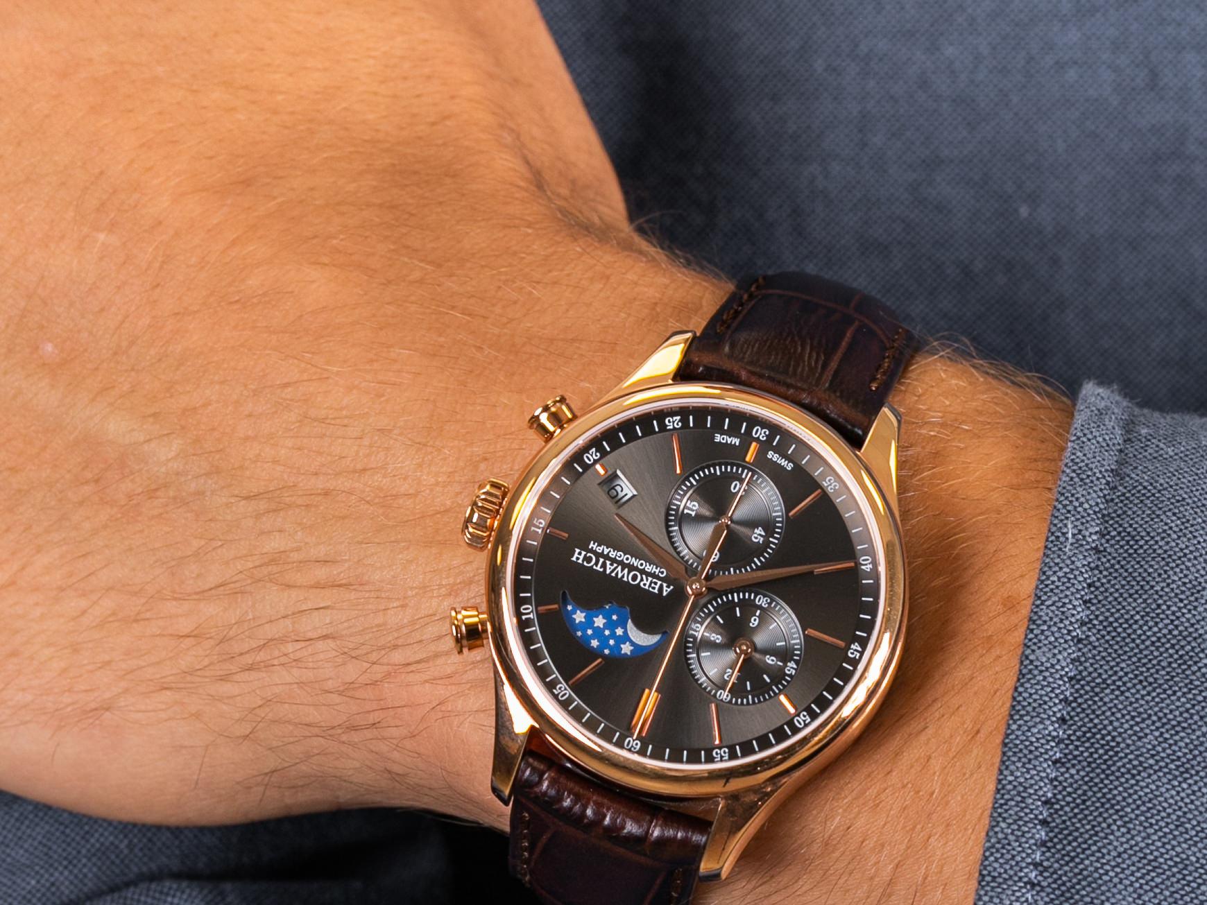 Aerowatch 78986-RO02 RENAISSANCE CHRONO MOON PHASES zegarek klasyczny Renaissance