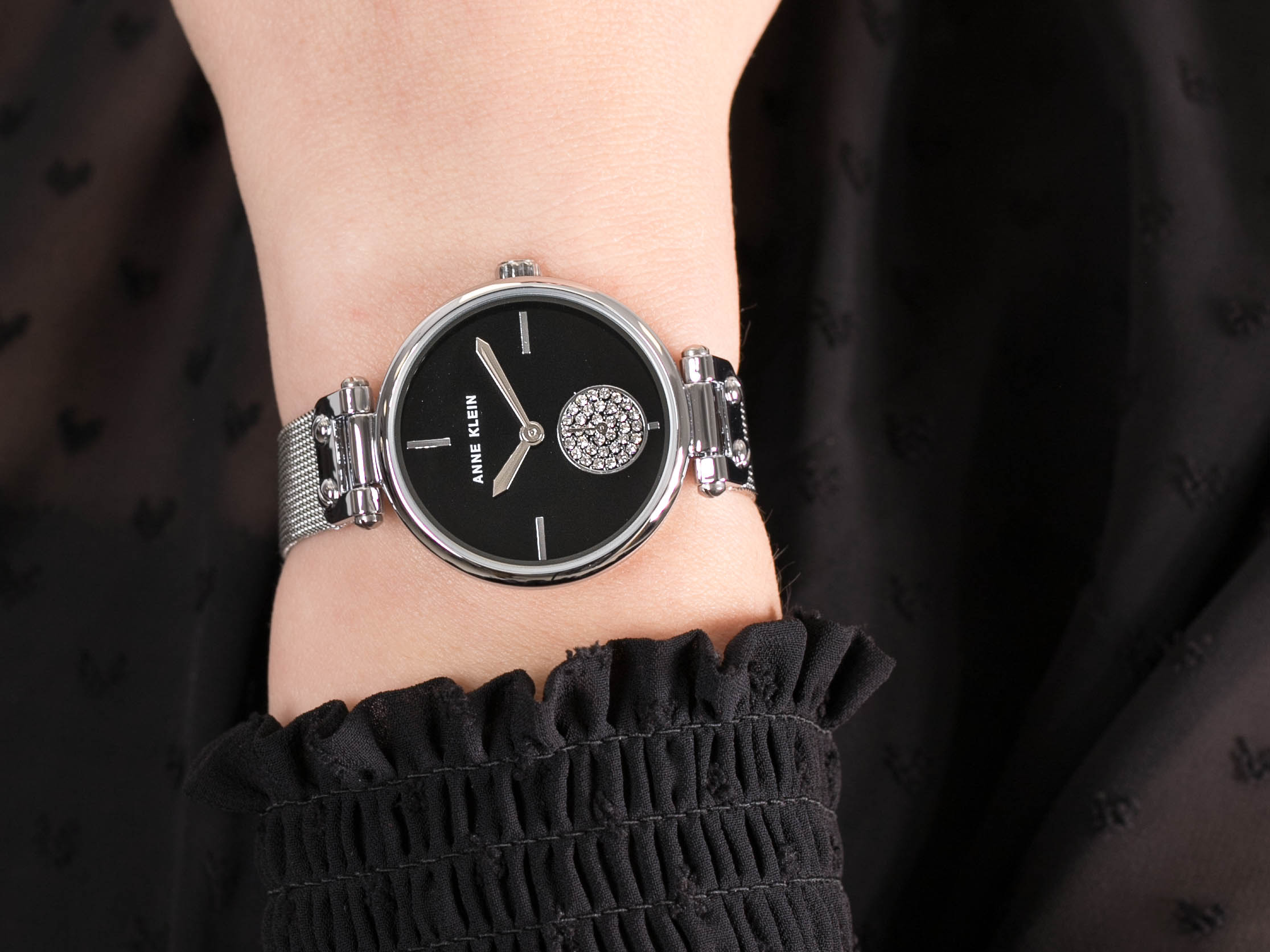 Anne Klein AK-3001BKSV zegarek klasyczny Bransoleta