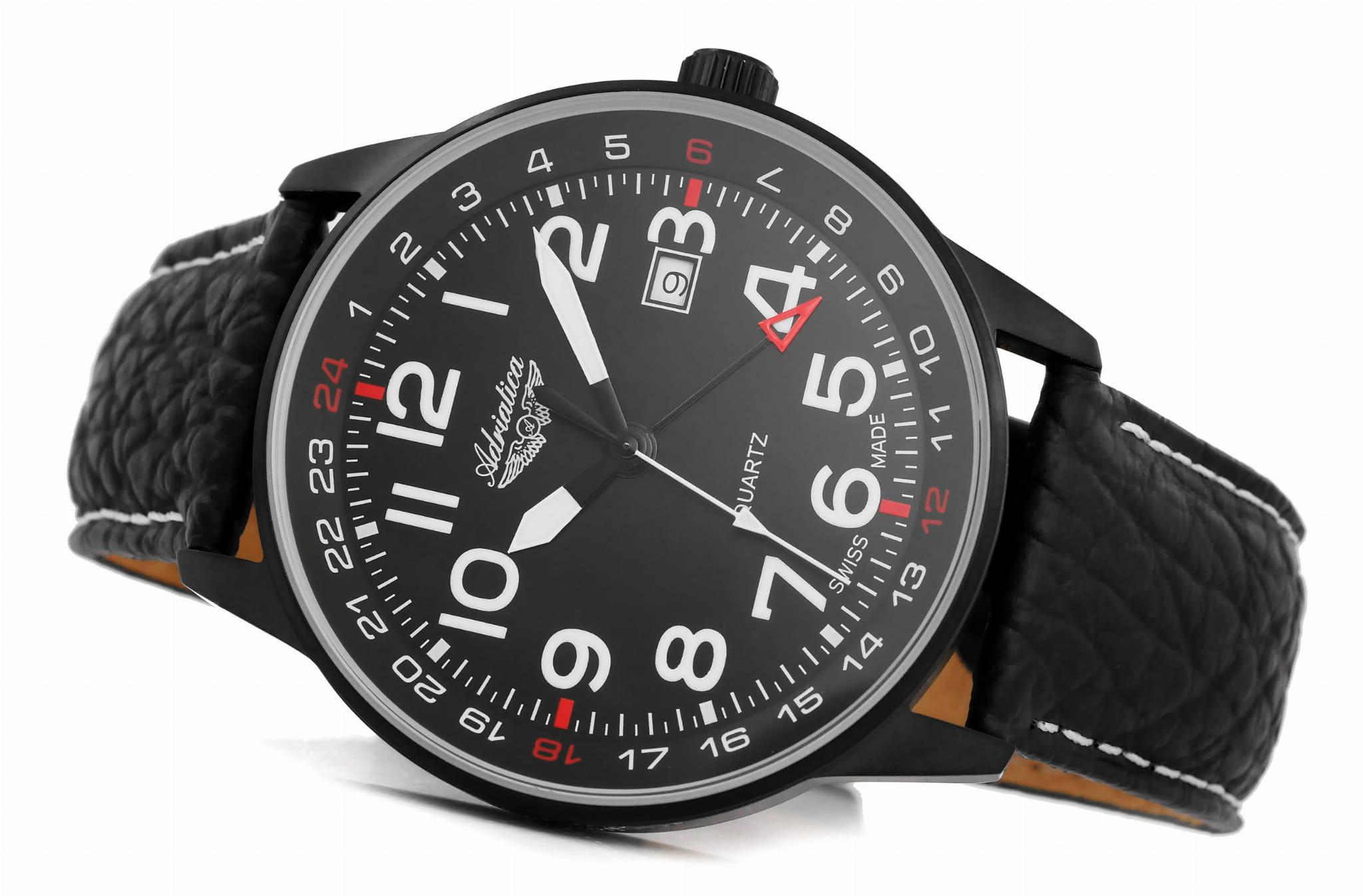 Adriatica A1067.B224Q zegarek czarny klasyczny Pasek pasek