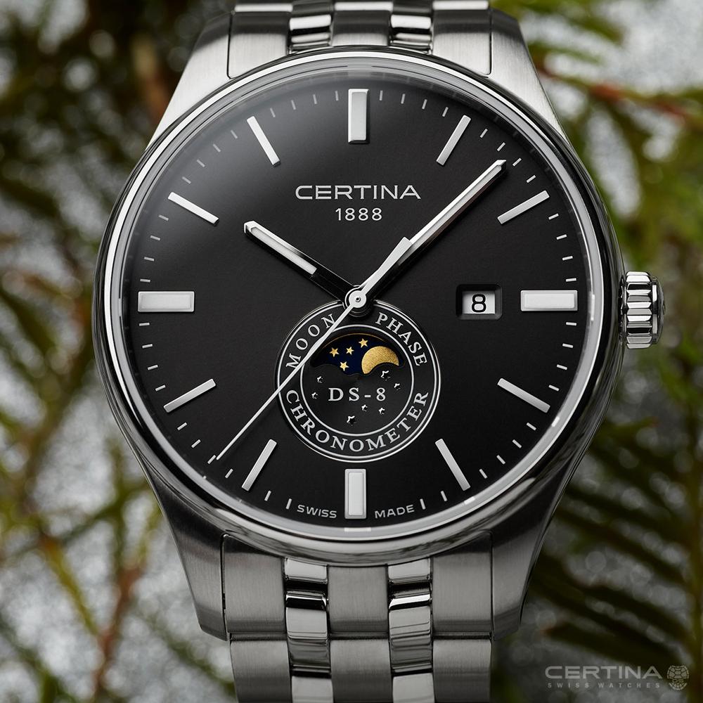 Certina C033.457.11.051.00 zegarek srebrny klasyczny DS-8 bransoleta