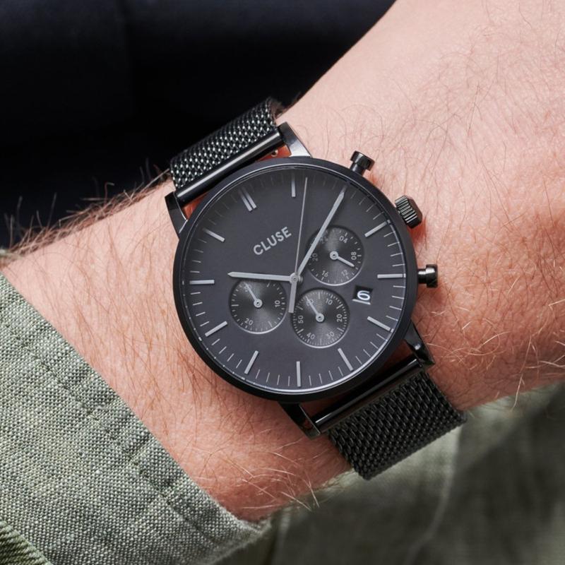 Cluse CW0101502007 zegarek czarny fashion/modowy Aravis bransoleta