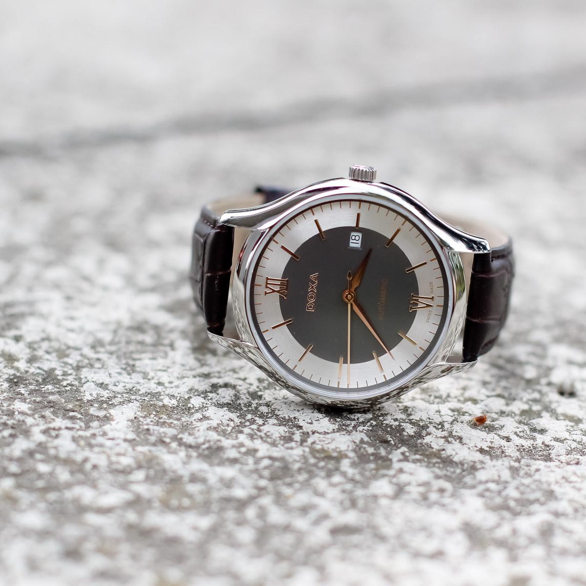 Doxa 216.10.122R.02 zegarek srebrny klasyczny Challenge pasek