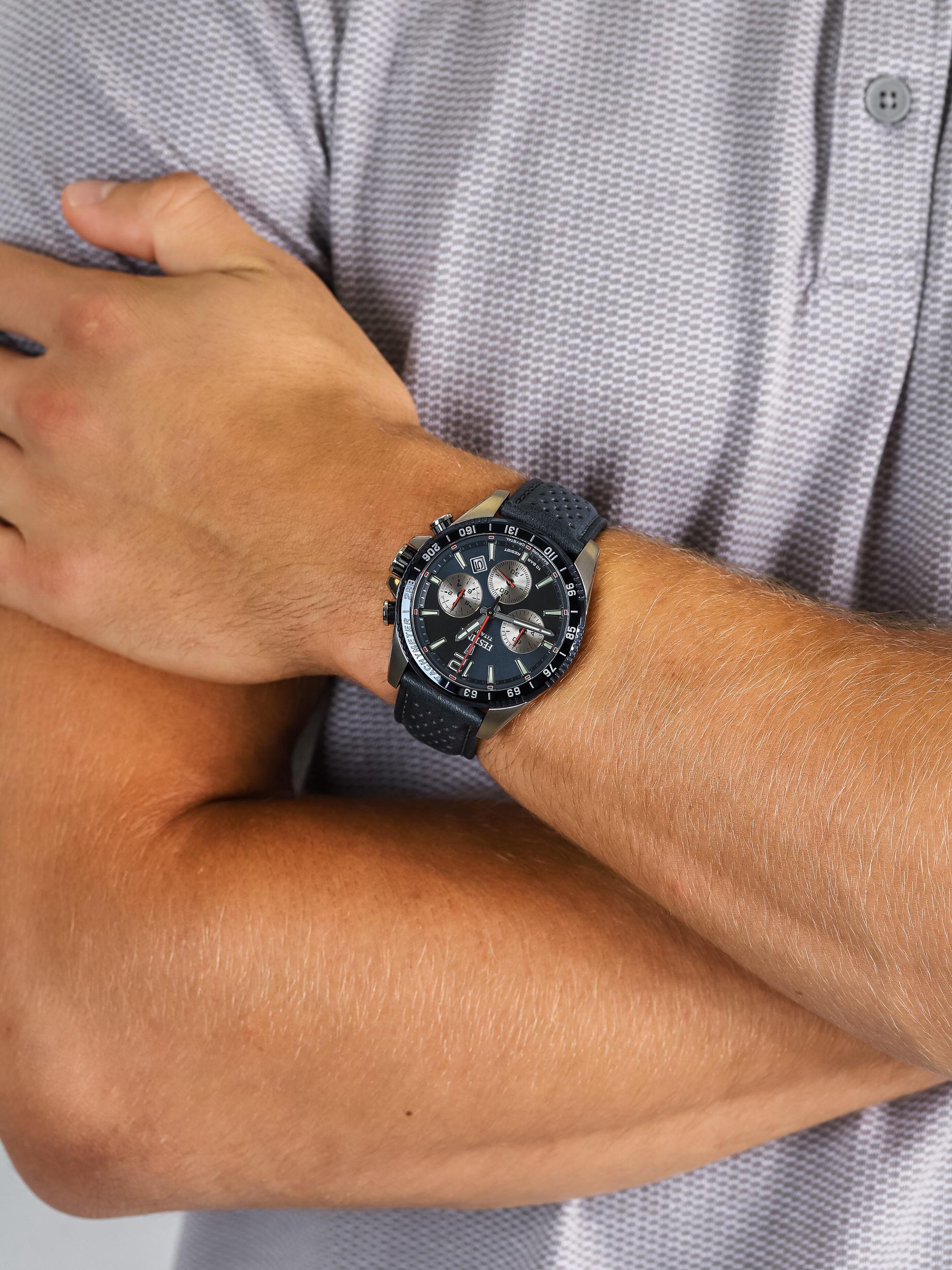 zegarek Festina F20521-2 Titanium Sport Chrono Sapphire męski z tachometr Titanium