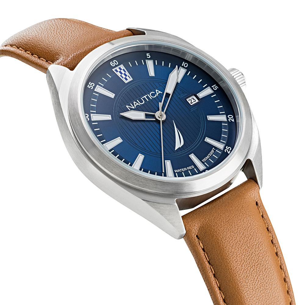 Nautica NAPBPS012 zegarek srebrny klasyczny Pasek pasek