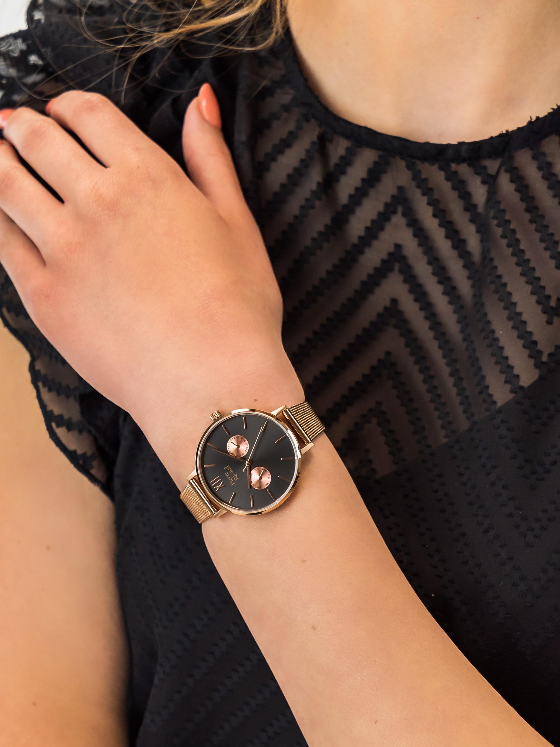 Pierre Ricaud P22110.91R7QF Bransoleta klasyczny zegarek różowe złoto