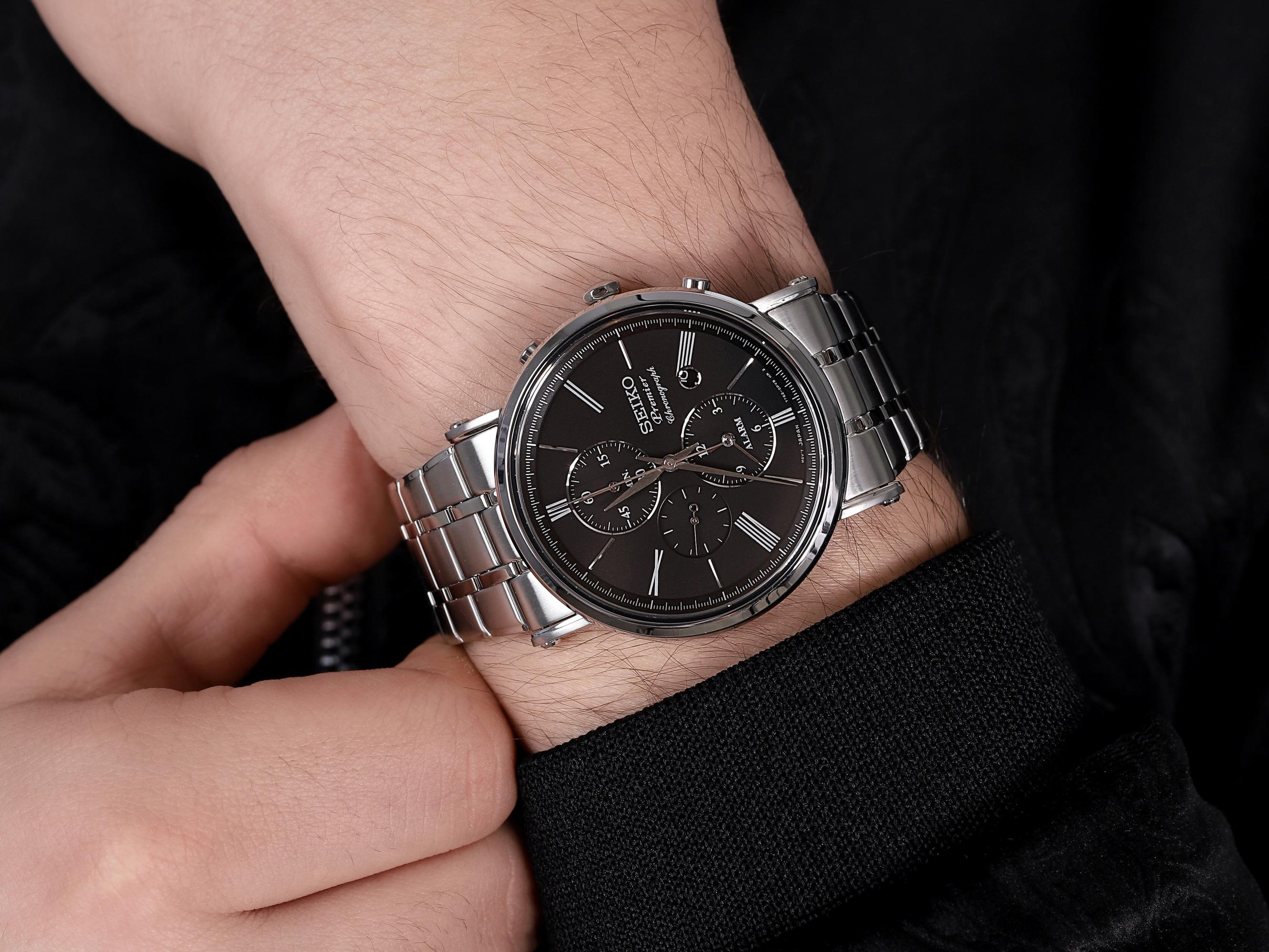 zegarek Seiko SNAF75P1 Premier Chronograph męski z chronograf Chronograph