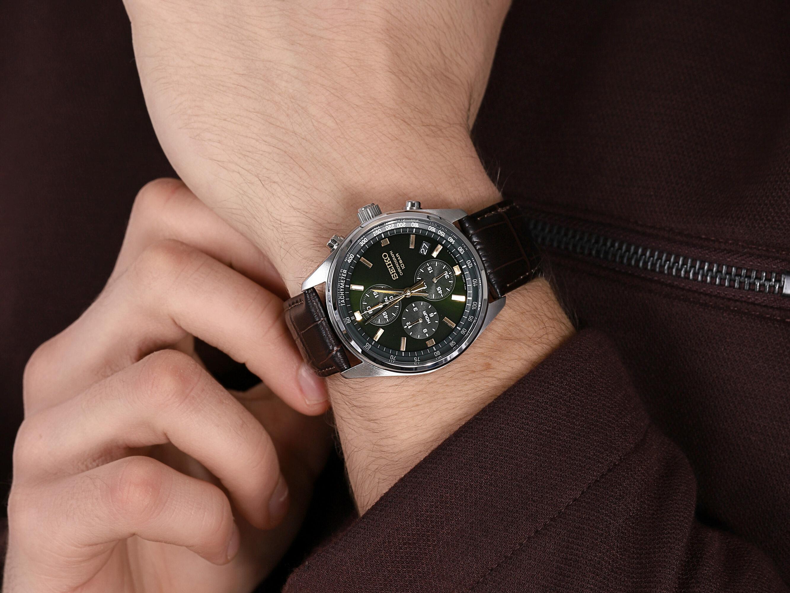 zegarek Seiko SSB385P1 Chronograph Quartz 100m męski z tachometr Chronograph