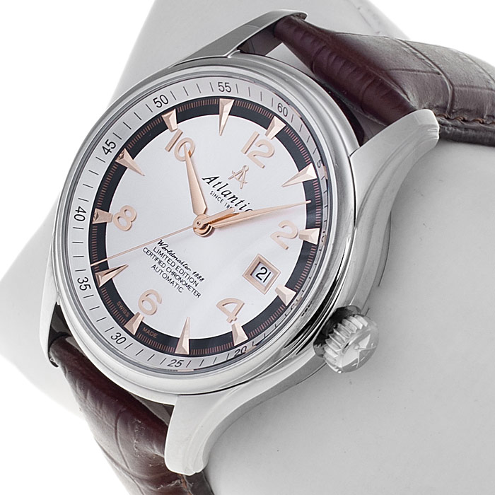 Atlantic 52750.41.25R zegarek srebrny klasyczny Seria Limitowana pasek