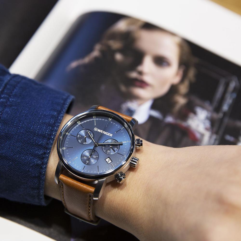 Wenger 01.1743.104 zegarek srebrny klasyczny Urban pasek
