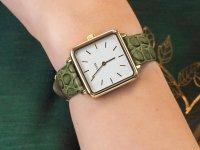 klasyczny Zegarek złoty Cluse La Tetragone CL60016 Gold White/Green Alligator Jungle - duże 6