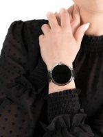 zegarek Garett 5903246286458 Smartwatch Garett Women Karen RT czarno-srebrny skórzany damski z krokomierz Damskie