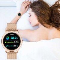 Rubicon SMARUB055 Smartwatch Smartwatch Rubicon RNBE66 różowe złoto zegarek damski