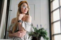 zegarek Garett 5903246286458 Smartwatch Garett Women Karen RT czarno-srebrny skórzany Damskie z tworzywa sztucznego
