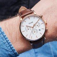 zegarek Cluse CW0101502002 kwarcowy męski Aravis Aravis chrono leather rose gold white/dark brown