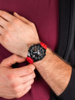 Zegarek czarny sportowy Casio EDIFICE Premium ECB-10HR-1AER pasek - duże 5