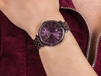 Zegarek czerwony fashion/modowy Fossil Jacqueline ES4100 bransoleta - duże 6
