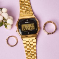 zegarek Casio Vintage A159WGED-1EF BLACK AND GOLD WITH DIAMOND LIMITED VINTAGE Midi akrylowe
