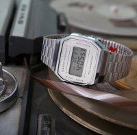 Casio Vintage A168WEM-7EF MIRROR FACE VINTAGE Maxi sportowy zegarek srebrny